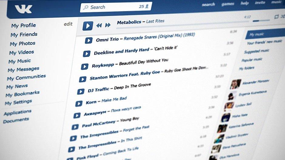 Музыкальный плеер «ВКонтакте». Музыка в социальных сетях.