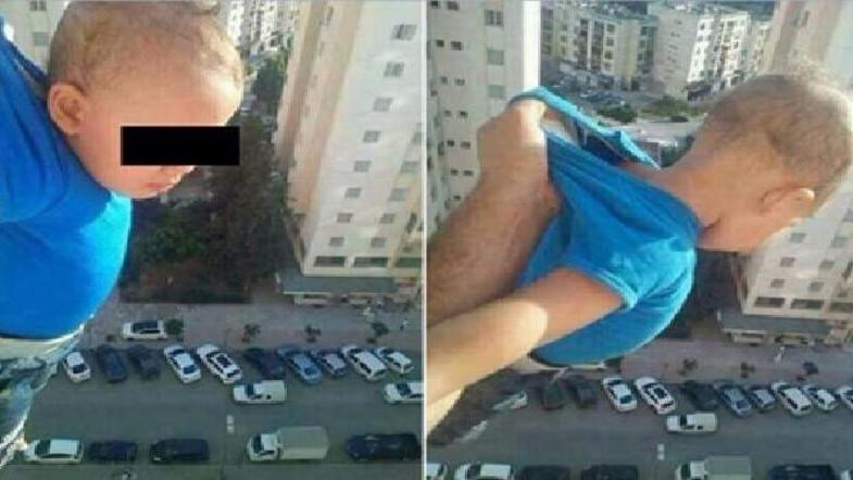 Алжирец вывесил сына изокна 15 этажа ради 1 000 лайков